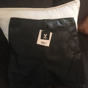 Very J Skirts - Black Faux Leather Skirt